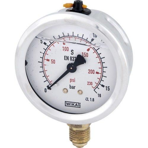 """Glicerines csillapítású nyomásmérő óra (manométer), Ø63 mm, 1/4""""-os alsó csatlakozóval"""