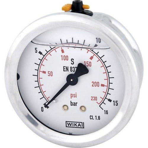"""Glicerines csillapítású nyomásmérő óra (manométer), Ø63 mm, 1/4""""-os hátsó csatlakozóval"""